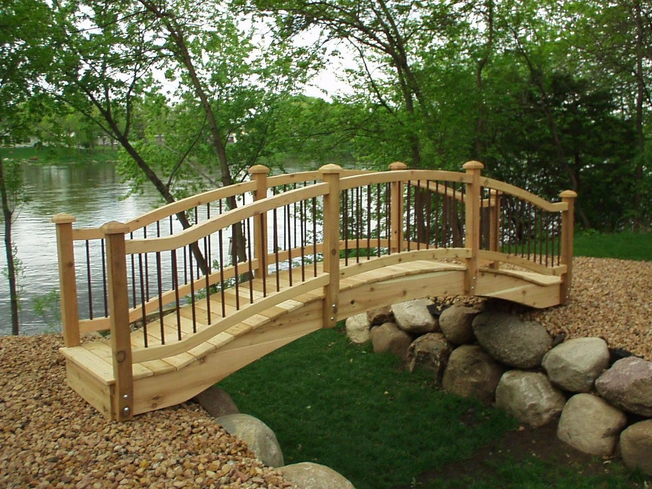 full line of wooden garden bridges,pedestrian bridges